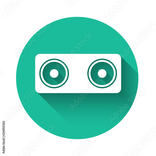 Poster Robots White Stereo speaker icon isolated with long shadow. Sound system speakers. Music icon. Musical column speaker bass equipment. Green circle button. Vector Illustration