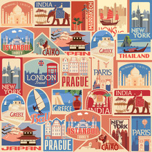 Set Of Retro Travel Stickers. ...