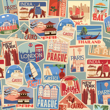Set Of Travel Retro Labels And Cards. Different Countries And Cities In Europe, Africa, Asia And America. Vector Color Graphics