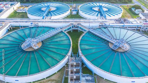 Fotografía  Aerial view recirculation solid contact clarifier sedimentation tank, Water treatment solution, Industrial water treatment