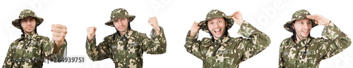 Photo Funny soldier isolated on white