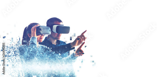A man and a woman in glasses of virtual reality Canvas Print