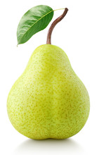 Green Pear Fruit With Leaf Iso...