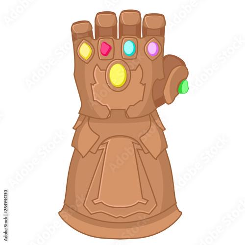 Glove of Thanos superhero on a white background. Canvas Print