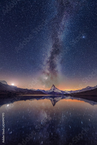 Milky way at lake Stellisee Matterhorn , Zermatt , Switzerland. Canvas Print