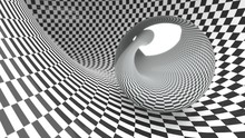 Abstract Checker Curved Geometric Background Black And White Colors. With Reflection Metall Ball 3d Illustration