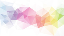 Vector Abstract Irregular Polygon Background - Triangle Low Poly Pattern - Light Pastel Full Spectrum Multi Color Rainbow Strip