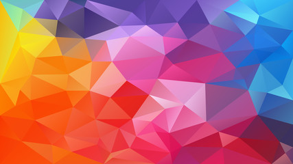 vector abstract irregular polygon background - triangle low poly pattern - full spectrum multi color rainbow theory - yellow, pink, magenta, purple, blue, green, orange