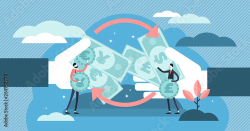 Fototapeta Money exchange vector illustration. Tiny financial currency persons concept obraz