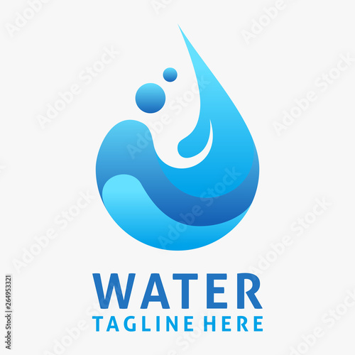 Fotomural Water drop logo design with splash effect