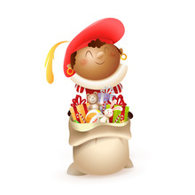 Red Zwarte Piet - Happy And Cute Sinterklaas Or Saint Nicholas Helper With Gift Bag - Isolated On White Background