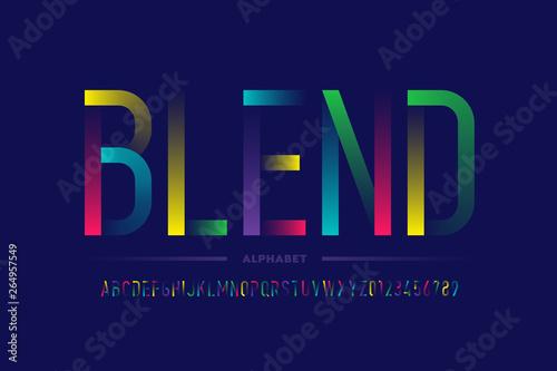 Fotografie, Obraz  Modern colorful font design, alphabet letters and numbers