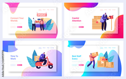 Foto auf Gartenposter Cartoon cars Post Office Service Website Landing Page Templates Set. People Send Letters and Parcels. Postmen Deliver Mail to Customers. Mail Delivery, Postage Web Page. Cartoon Flat Vector Illustration, Banner