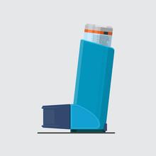 Asthma Inhaler Vector Flat Design.