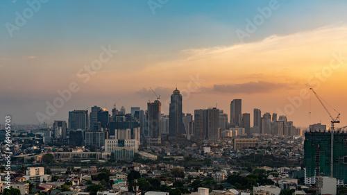 Staande foto Stad gebouw Aerial view of Metro manila skyscrapers