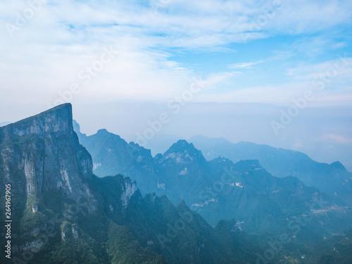 beautiful view on Tianmen mountain with clear Sky in zhangjiajie city China.Tianmen mountain the travel destination of Hunan zhangjiajie city China