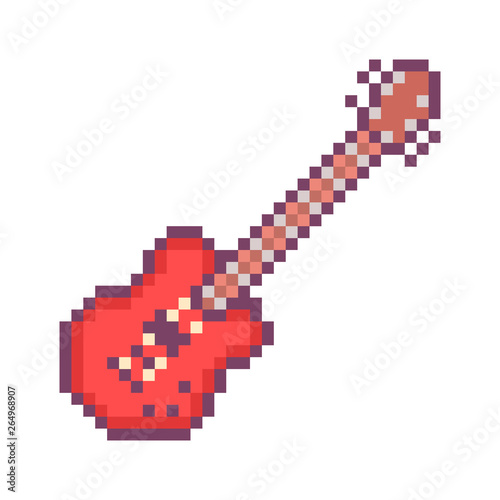 Red electirc guitar, 32x32 pixel art icon isolated on white
