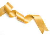 Gold Ribbon In Roll On White