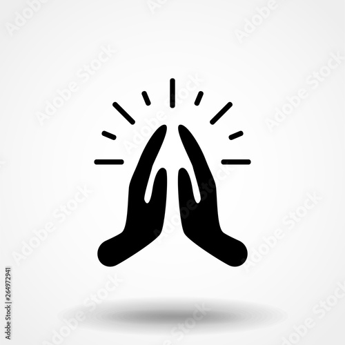 Pray or hands together in religious prayer flat vector icon for apps and website Wallpaper Mural