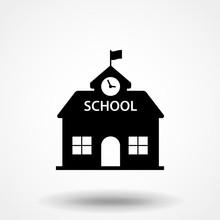 High School Building Icon Vect...