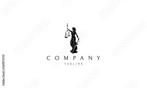 Obraz na plátně Lady Justice Statue Black vector logo design