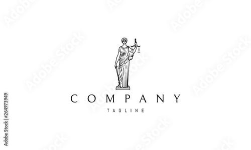 Fotografie, Obraz  Lady Justice Statue Black vector logo 4 design
