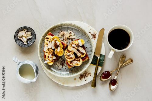 Fototapeta Banana coconut chips chocolate toast obraz na płótnie