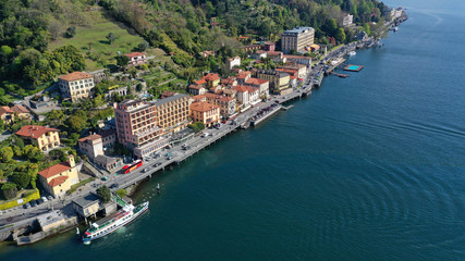 Fototapeta na wymiar Aerial drone panoramic photo of famous lake Como one of the deepest in Europe, Lombardy, Italy