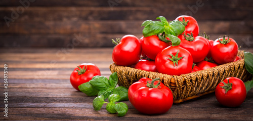 Fototapety, obrazy: Fresh ripe tomatoes and basil in the basket