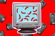 Leinwanddruck Bild - Zine style, pop art design. Creative retro collage with tv and video cassette on red background