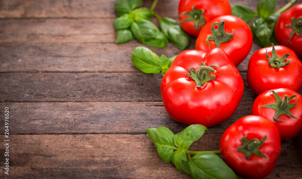 Fototapety, obrazy: Fresh ripe tomatoes and basil on the wooden table