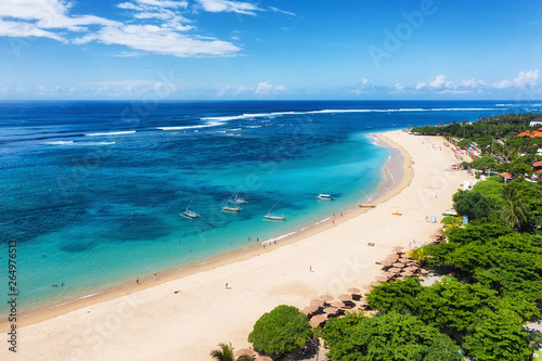 obraz lub plakat Aerial view at beach and ocean. Turquoise water background from top view. Summer seascape from air. Bali island, Indonesia. Travel - image