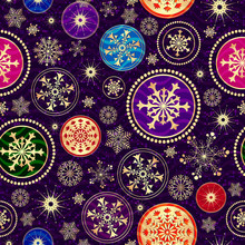 Christmas Dark Violet Seamless Dotted Pattern With Colorful Balls