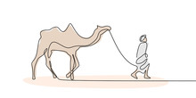 Person Walking With Camel On Dessert One Continuous Line Drawing Minimal Design