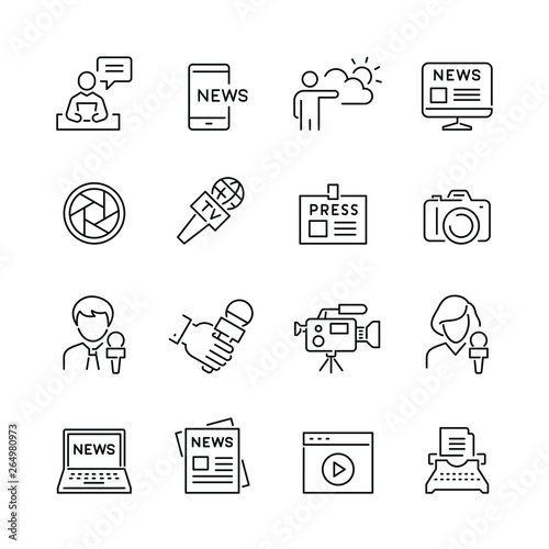 Fényképezés  Mass media related icons: thin vector icon set, black and white kit