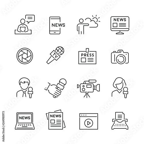Fotografie, Obraz Mass media related icons: thin vector icon set, black and white kit