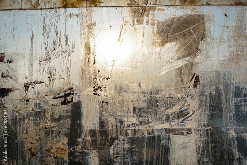 Spoed Fotobehang Baksteen muur Abstract background. Window chaotically smeared with paint, illuminated by the sun.