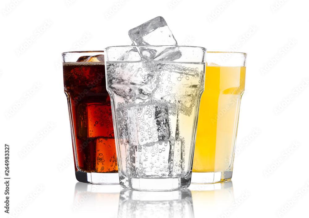 Fototapety, obrazy: Glasses of cola and orange soda drink and lemonade