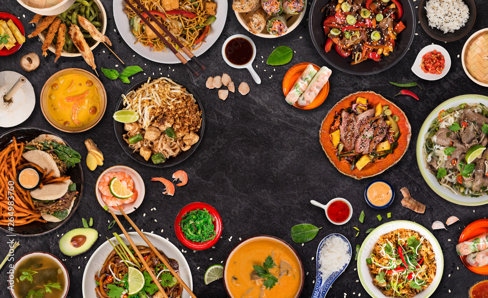 Fototapety, obrazy: Asian food background with various ingredients on rustic stone background , top view.