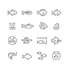 Fish Related Icons: Thin Vecto...