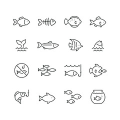 Ikone povezane s ribom: set tankih vektorskih ikona, crno-bijeli komplet