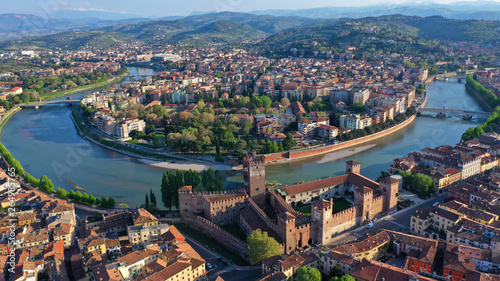 Foto auf Gartenposter Altes Gebaude Aerial drone photo from iconic fortified medieval castle and bridge of Castelvecchio used as a museum, Verona, Italy