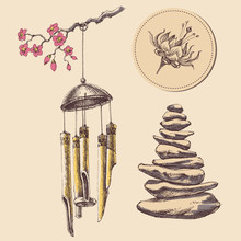 Meditation, Spa And Relaxation Icons Set. Wind Chimes, Zen Stones And Floral Label