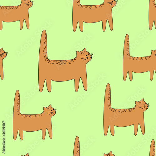 Beautiful creative textiles. Image of original kittens. Wallpaper and background for a beautiful children's room. Vector illustration