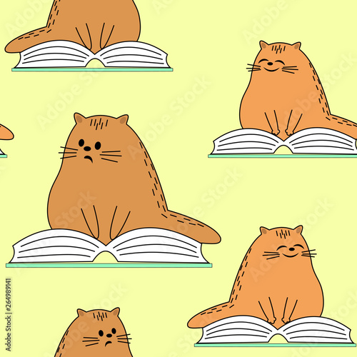 Beautiful creative textiles. Image of original kittens. A pet is reading a book and smiling. Wallpaper and background for a beautiful children's room. Vector illustration
