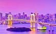 Leinwanddruck Bild - View of the Tokyo Bay and Rainbow Bridge at dusk in Tokyo.