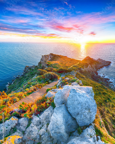 Fototapety, obrazy: Dramatic spring sunset on the the cape Milazzo panorama of nature reserve Piscina di Venere.