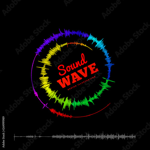 Sound wave spiral form. illustration on black background Canvas Print