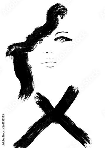 和筆 Sketch Fashion Abstract Simple Black And White Line