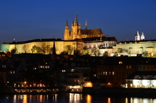 Hradcany District And Hradcany Castle In Prague At Night